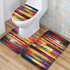 Non-Slip Wood Floor Bathroom Pedestal Rug+Lid Toilet Cover Bath Mat