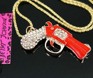 Lady's  Enamel crystal pistol Pendant Betsey Johnson Sweater chain Necklace