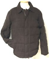 LL BEAN BROWN ULTRA SUEDE QUILTED GOOSE DOWN INSULATED PUFFY JACKET MEN'S SZ L