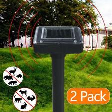 2x Solar Battery Cat Repeller Chaser Scarer Ultrasonic Deterrent Repellent UK