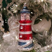 Leuchtturm rot/blau 15cm Schatzhauser Thüringer Glas und Weihnachtsschmuck