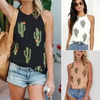 Cute Women Cactus Sleeveless Vest Tops Lady Summer Loose Tee Tank Shirt Blouses