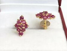 14k Solid Yellow Gold Diamond Shape Stud Earrings, Natural Ruby 1.90Grams