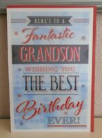 Here's to a fantastic Grandson Wishing you the best Birthday ever - 3D card