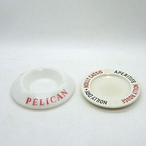 2 x 50er Jahre Aschenbecher Frankreich Keramik  inkl. DHL Paket Versand (BRD)