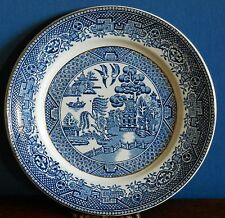 "A Vintage Adams Blue Willow 7"" Side plate Gilt rim and border"