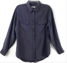 Equipment Women's Blue Signature Silk Blouse Sz M Button Up Long Sleeves Pockets