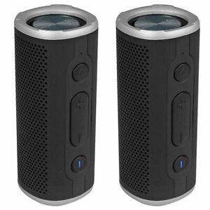 (2) Rockville ROCK LAUNCHER BK Portable Waterproof Bluetooth Speakers w/ TWS