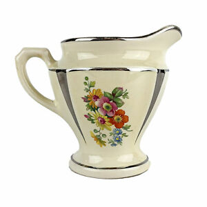 Vintage Porcelier Percolator Creamer Floral Yellow w/ Silver Accents