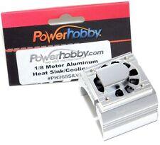 Powerhobby Aluminum Motor Heatsink + Cooling Fan For 1/8 Size Motors Silver