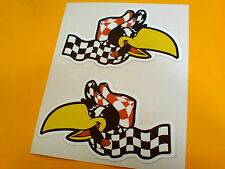 CHEQUERED CRAZY CROW Car Motorcycle Helmet Handed Stickers Decals 2 off 85mm