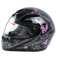 DOT Adult Pink Black Butterfly Motorcycle Full Face Street Helmet S M L XL