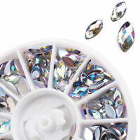 3D Acrylic Nail Art Tips Decoration Glitter Rhinestone Pearl Alloy AB Gems Wheel