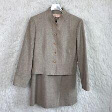 Pendleton Tweed Skirt Suit Tan Virgin Wool 2 Piece USA Made VTG Womens 10 12