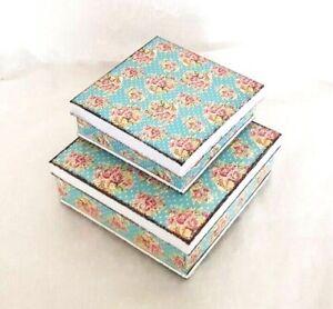 Square storage tins pair vintage style teal & pink floral design 13cm-NEW