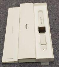 Reloj de Apple serie 3 38 mm Caja De Plata Blanco Banda Smartwatch Impecable En Caja