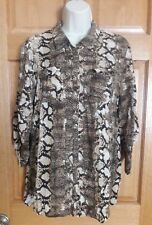 Como Vintage Women's Brown Animal Snakeskin Print Roll Tab Sleeves Blouse Size L