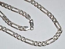 "Italian Solid Sterling Silver Fancy Figaro Chain 20"" Long Necklace 7mm wide"