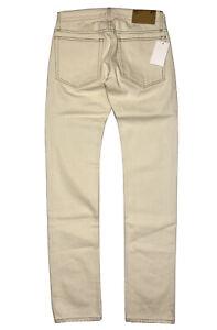 HELMUT LANG Mens Womens Unisex Drainpipe Raw Denim Jeans Ivory 27 (MSRP $290)
