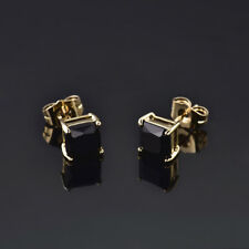 HUCHE Square Black Sapphire Crystal 24K Yellow Gold Filled Lady Studs Earrings