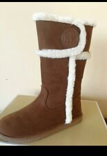 MICHAEL KORS Alina Faux Suede Sherpa Boots Camel MK Womens 6 Youth size 4 Brown