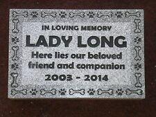 "Pet memorial head stone grave marker 12 x 8"" custom engraved- 2"" granite"