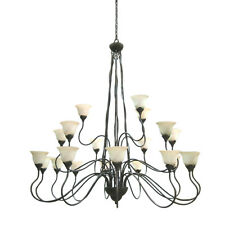 UNIQUE 21 LIGHT 3 TIER CHANDELIER WITH TRUSCAN SCAVO GLASS