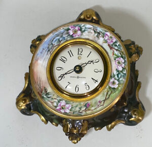 UNUSUAL CLOCK LIMOGES FRENCH HAND PAINTED