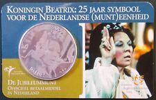 Coincard 5 euro Koningin Beatrix 25 jaar symbool voor de Nederlandse munteenheid