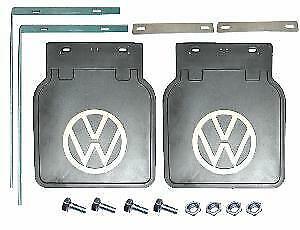 Volkswagen Beetle VW Mud Flaps Kit Black with White VW Logo Pair