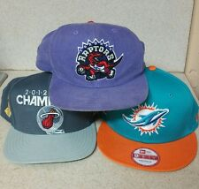 SNAPBACK HAT LOT OF 3 MIAMI HEAT MIAMI DOLPHINS RAPTORS NBA NFL