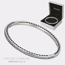 """Authentic Pandora Silver Hearts Blue Enamel CZ Bangle w/ BOX 7.5"""" 590537EN131-3"""