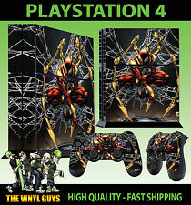 PS4 Skin Stark Dark Spider Suit Red Gold Web Sticker + Pad New decal Vinyl STOOD