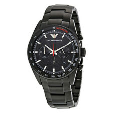 Emporio Armani Sportivo Men's Watch AR6094 Black Stainless Steel Chronograph-NEW