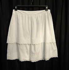 100% COTTON WHITE BOHO TIER EMBROIDERED EYELET PULL-UP DRESS SKIRT~S~SMALL~NEW