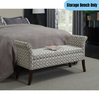 Contemporary Storage Bench Ottoman Hidden Compartment Bedroom Accent Seat White