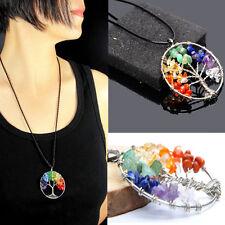 Tree of Life Pendant Necklace Natural Crystal Quartz Gemstone Chakra Healing au
