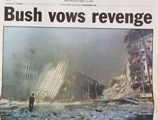 "September 12, 2001 ""BUSH VOWS REVENGE"" Newspaper"