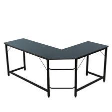 Home Office Laptop Desk L-Shaped Corner Computer Desk Study PC Work Table- Black