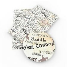 "RODEO FAUX LEATHER SHEET 8"" X 13"" 20X34CM WHOLESALE Printed A4 COWBOY"