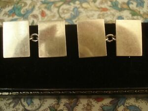 Superb & Fine Antique Art Deco: 9CT Yellow Gold On Sterling Silver Cufflinks