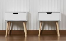 Pair of Retro Contemporary Scandi Style Bedside  Cabinets Tables White