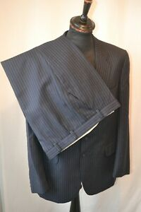 """Vintage St Michael blue pin stripe wool 2 piece suit size large 42"""" W 36"""" Mod"""
