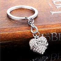 Family Gifts Silver Rhinestone Crystal Heart Pendant Keyrings Keychain FO
