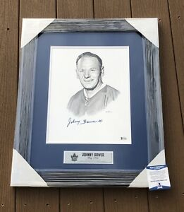 Johnny Bower Signed Toronto Maple Leafs Framed Matted Pencil Sketch Beckett COA