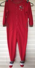 Nick Nora Adult L Footed Pajamas Sock Monkey PJs Banana Peel Red Brown Soft