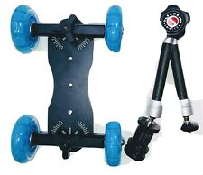 Professional DSLR Camera Skater Dolly Truck With Camera Mount 4 Wheel Tabletop