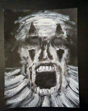Original Horror Art Acrylic Painting Halloween Scary Clown Creepy Portrait Demon