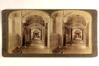 Italia Roma Vaticano Libreria c1900 Foto Stereo Vintage Albumina