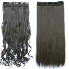 Extra Thick Natural Soft Hair Extensions Clip In Long Straight Neat Black Blonde